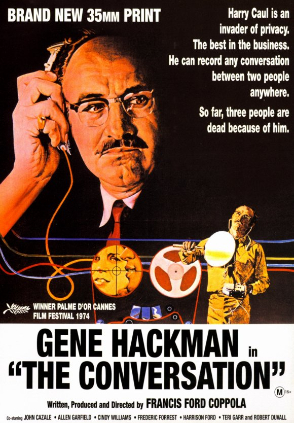 1973 movie poster The Conversation starring Gene Hackman